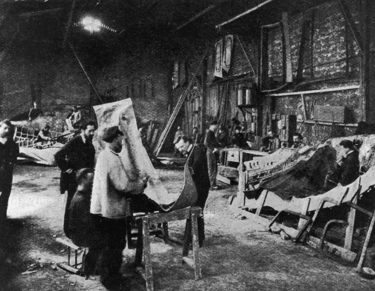 Segments of the Statue of Liberty during its construction in the workshop of French sculptor Frederic Auguste Bartholdi, in Paris circa 1880.
