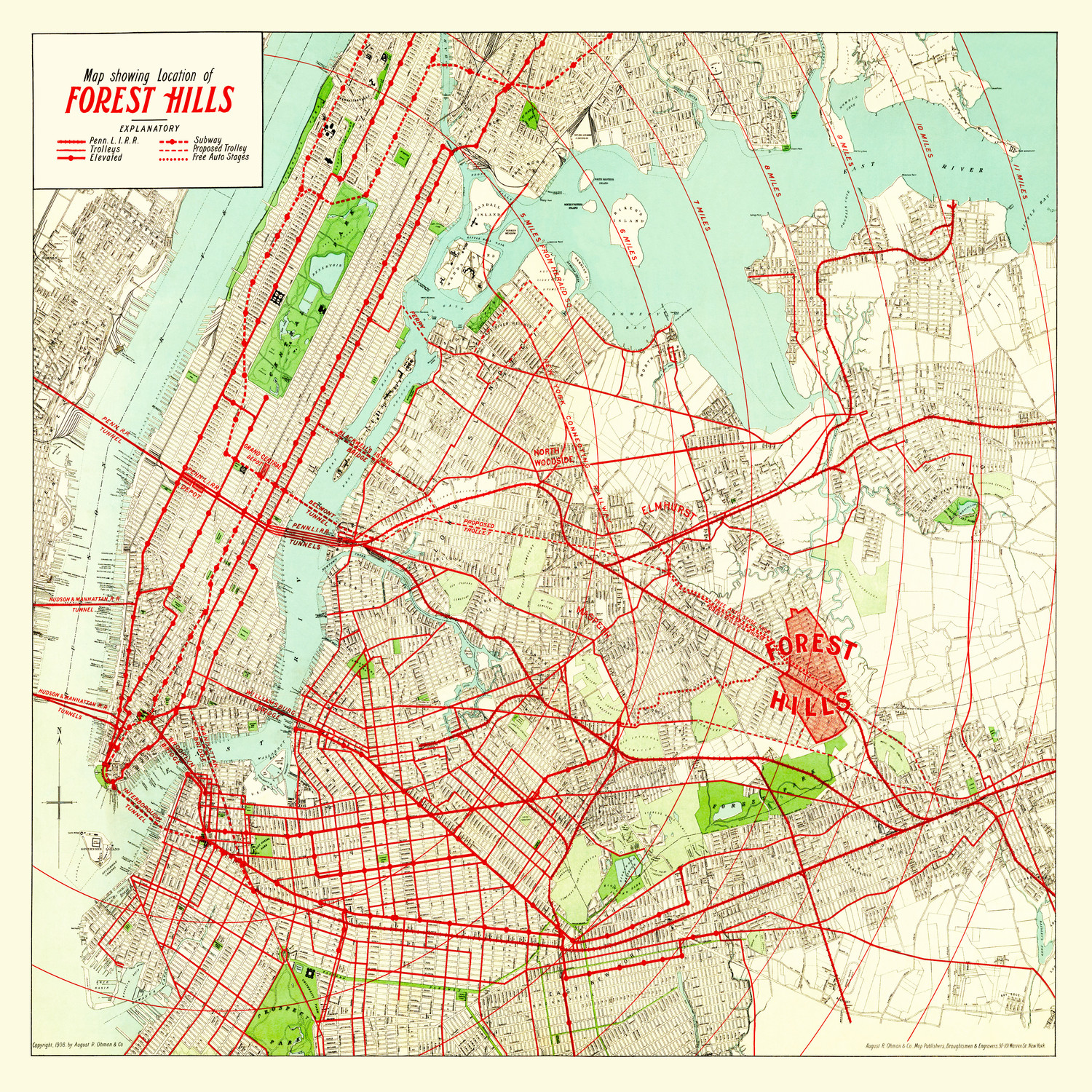 Vintage NYC subway, rail, and trolley map showing location of Forest Hills, early 1900s