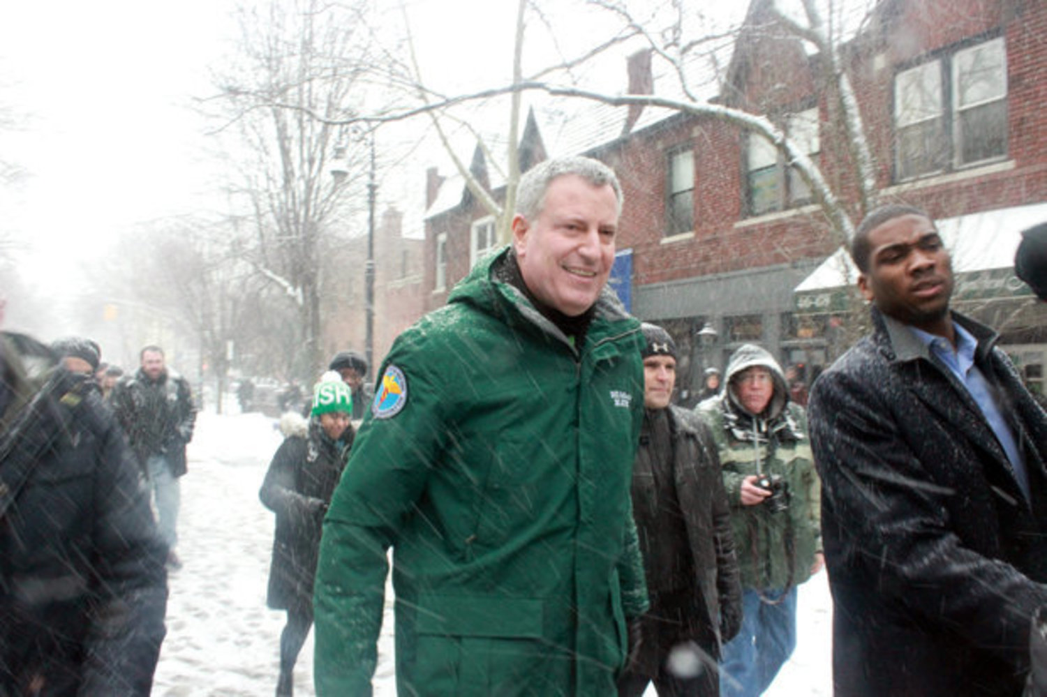 In 2015, Mayor Bill de Blasio marches in the St. Pat's for All Parade in Sunnyside, Queens.