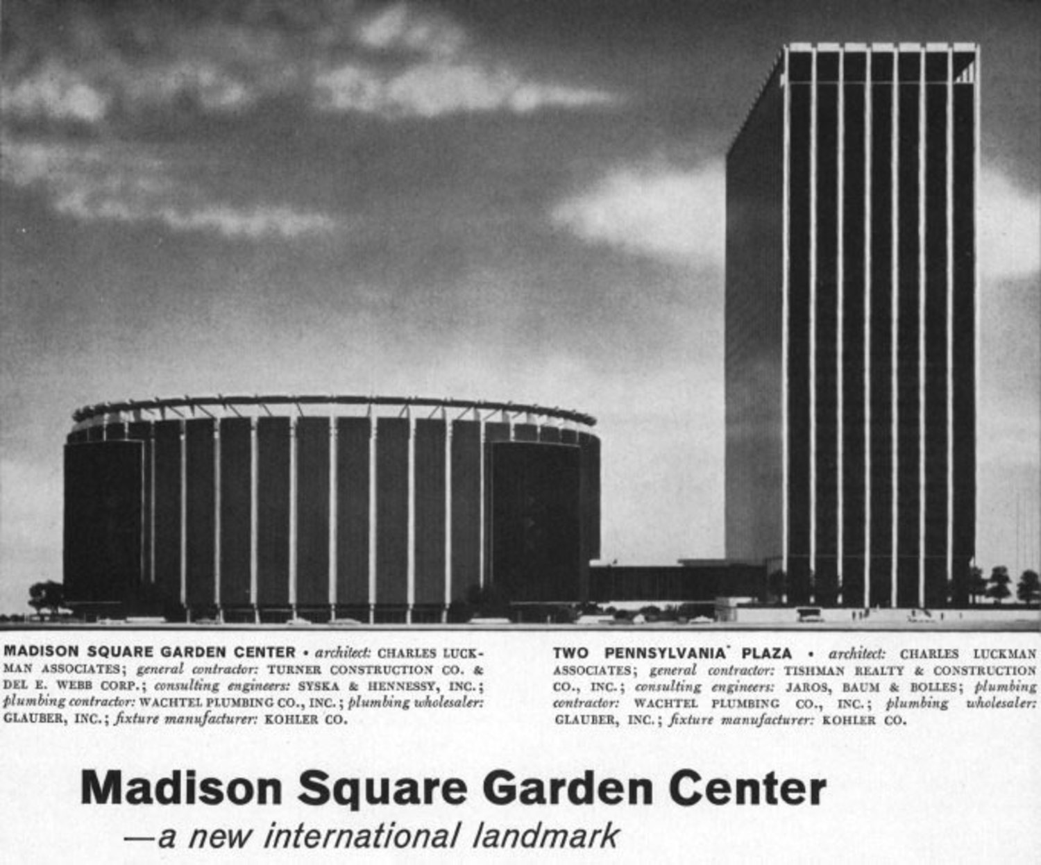 Madison Square Garden IV, designed by Charles Luckman Associates. This may surprise no one, but their other claims to fame include designing both Kennedy Space Center in Florida and Johnson Space Center in Texas.