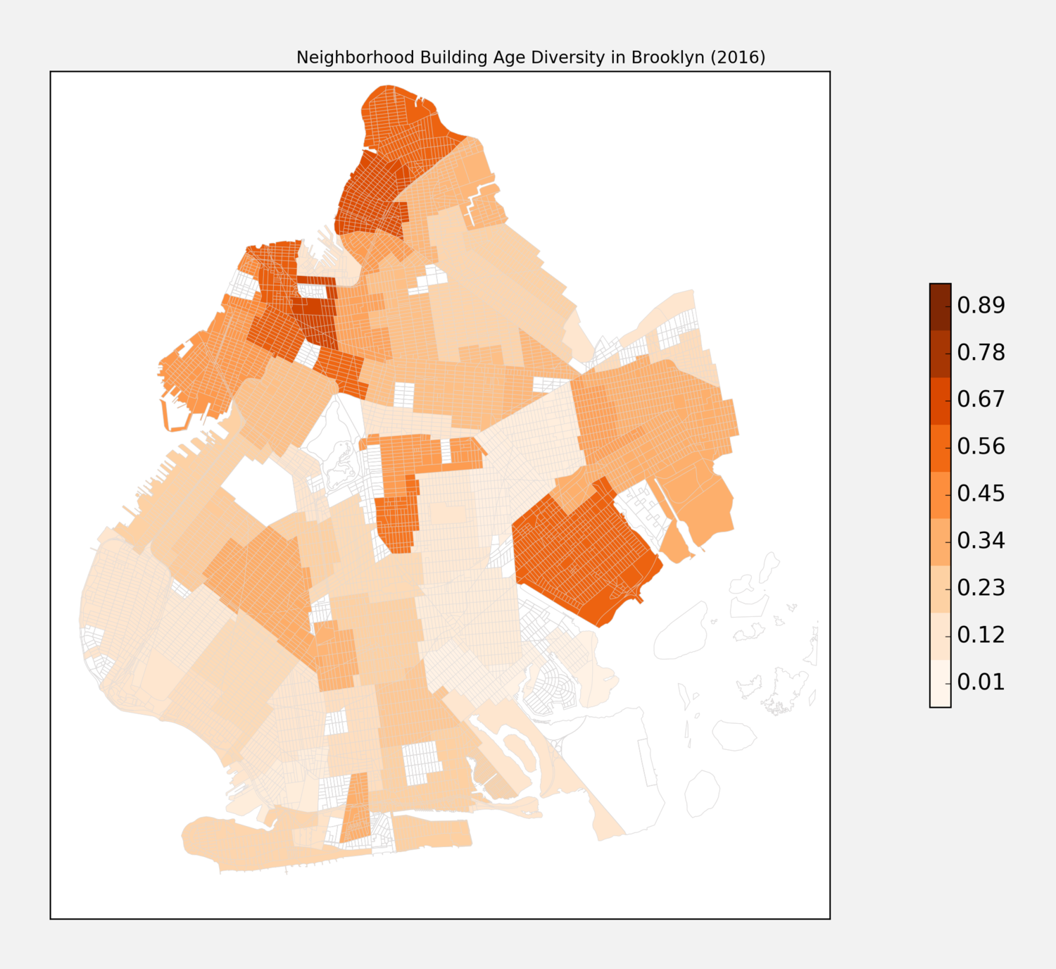 Neighborhood Building Age Diversity in Brooklyn (2016)