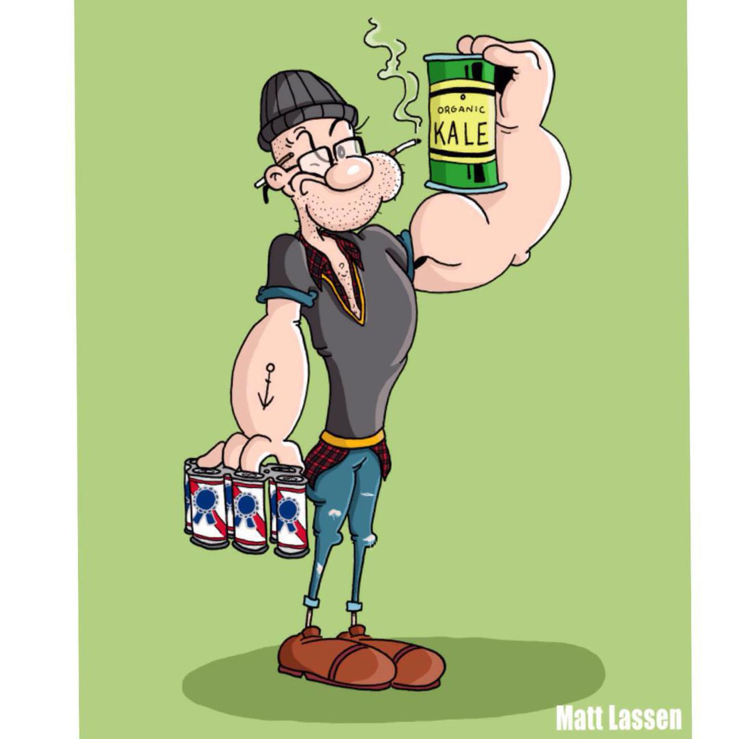 Hipster Popeye (No. 4 in a series) #cartoon #illustration #hipster #kale #art #beanie #pbr #pabstblueribbon #popeye