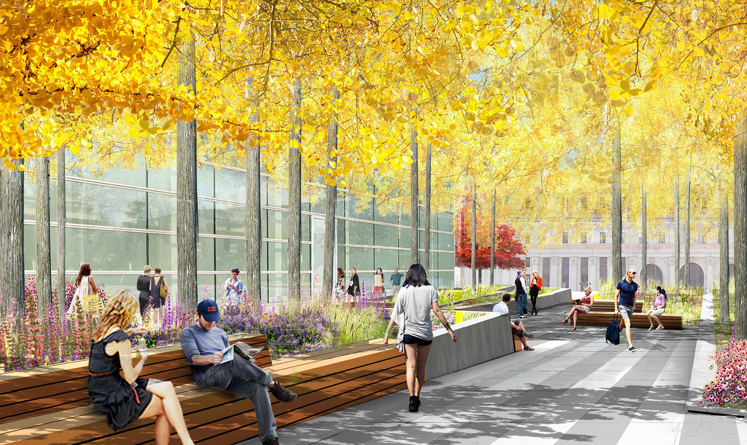 Perhaps the project's most notable highlight is a 60,000-square-foot, landscaped public square designed by James Corner Field Operations—the creative firm behind the nearby High Line.