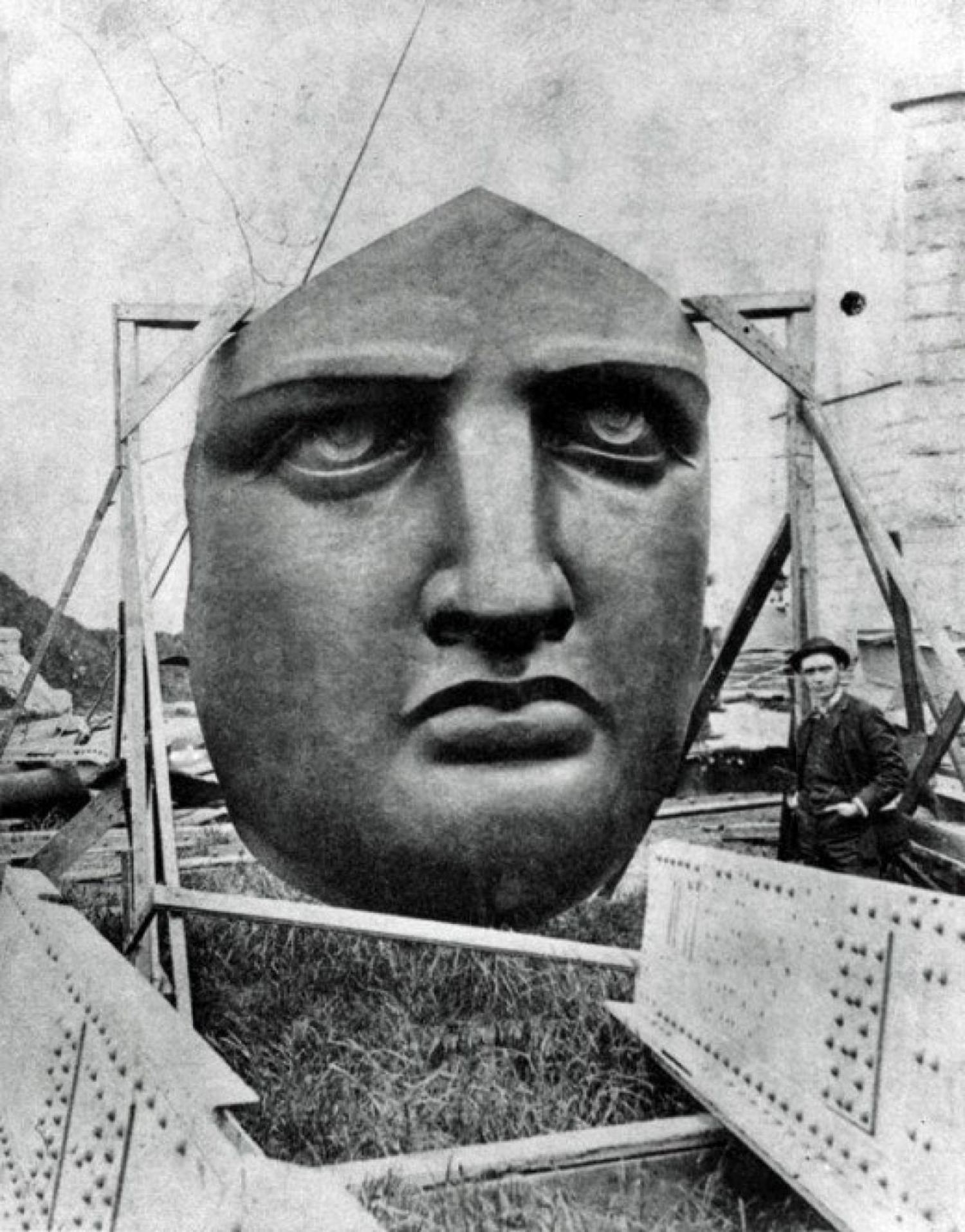 The Statue of Liberty's face before it was installed, 1886.