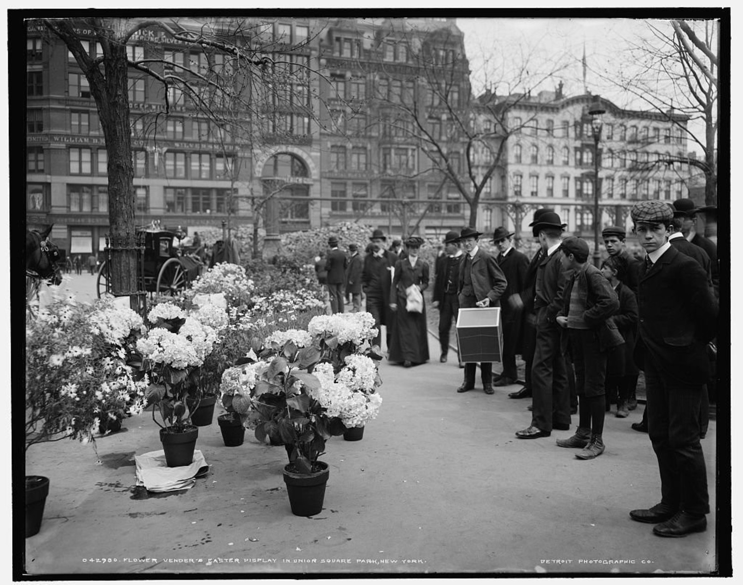 This Vintage Photograph From The Library Of Congress Digital Collection Shows Easter Flower Vendors In Union Square Park Early 1900s