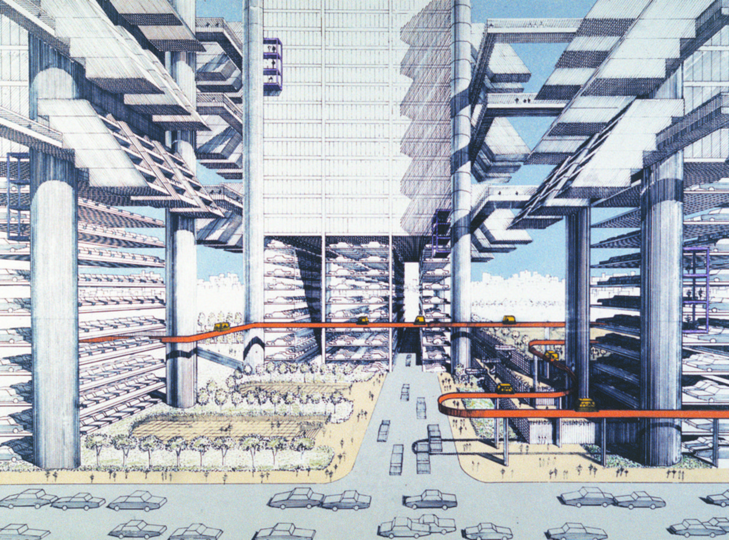 """In his 1967 """"City Corridor"""" plan, the architect Paul Rudolph reimagined the neighborhoods around the (also never built) Lower Manhattan Expressway as a """"sinew of buildings, bridges, terraces, plazas, overlooks, walkways, people movers, subways, streets, and freeways, all drawn together into one exquisite whole."""""""
