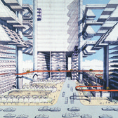 "In his 1967 ""City Corridor"" plan, the architect Paul Rudolph reimagined the neighborhoods around the (also never built) Lower Manhattan Expressway as a ""sinew of buildings, bridges, terraces, plazas, overlooks, walkways, people movers, subways, streets, and freeways, all drawn together into one exquisite whole."""