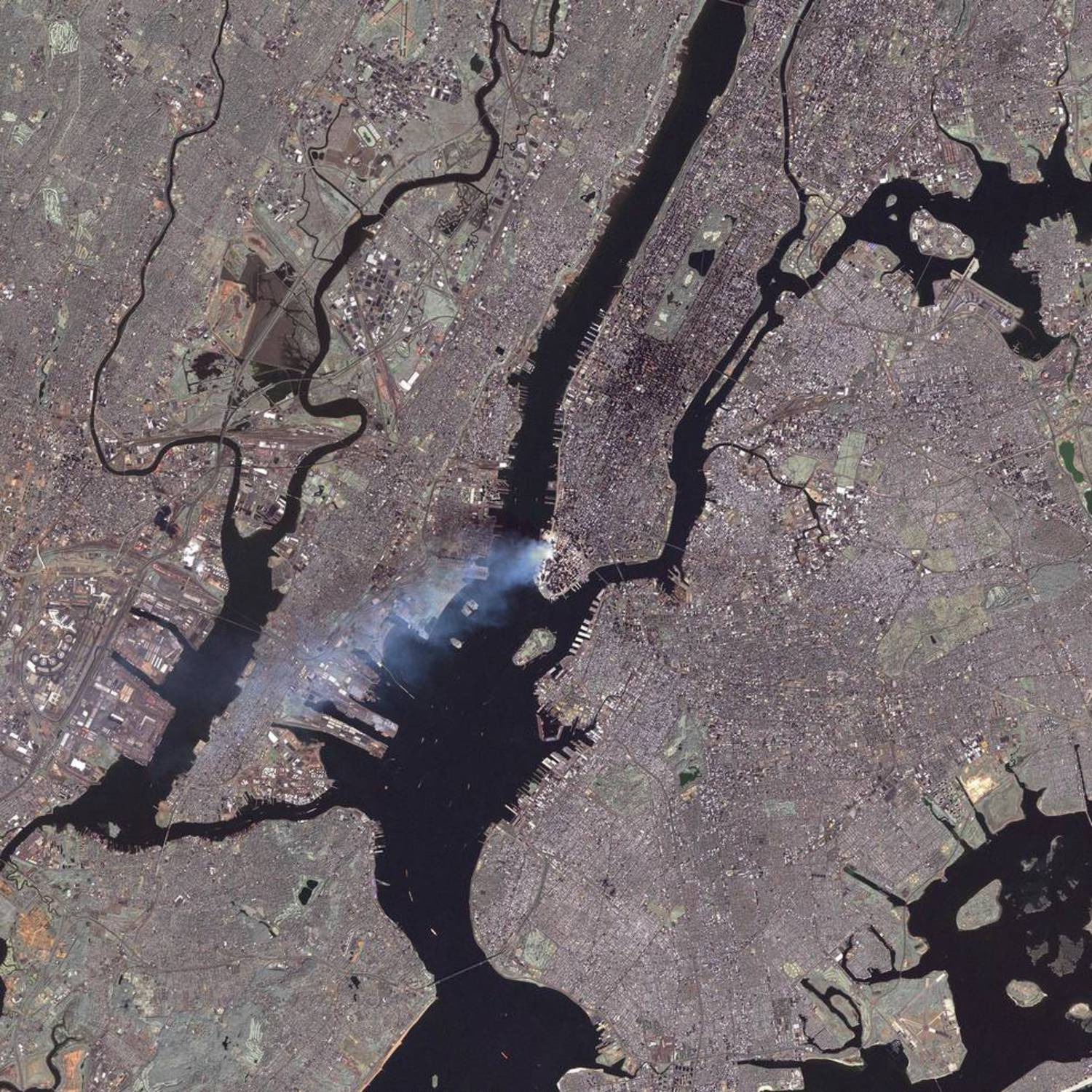 Smoke can still be seen at the site at around 11:30 a.m. on Sept. 12, in this image from the Landsat 7 satellite.
