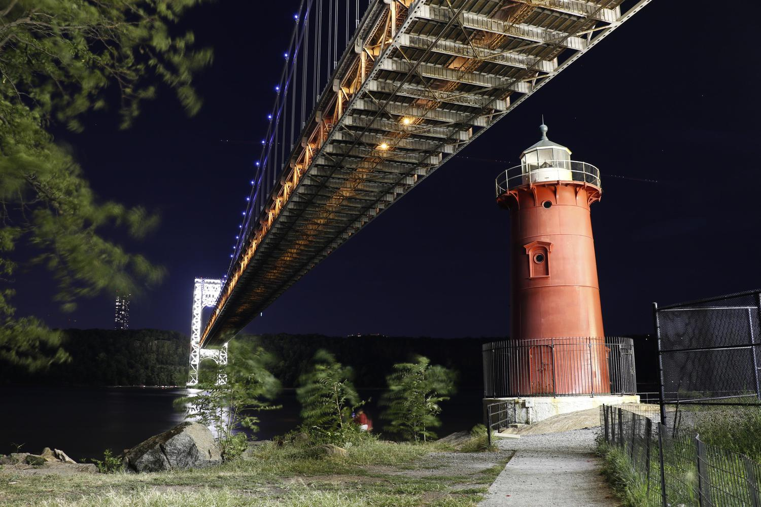 The Little Red Lighthouse with the GWB tower light up for 9/11 tribute