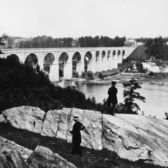 January 01, 1859. The High Bridge over the Harlem River, New York. Designed by American engineer John B Jervis as part of the Croton Aqueduct carrying water to New York City.