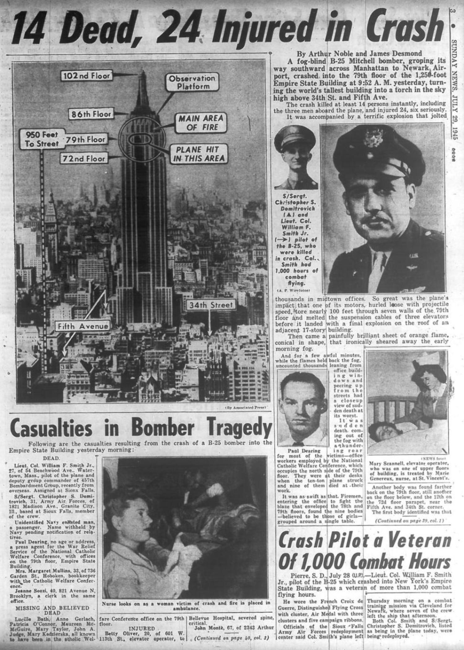 New york Daily News covers the B-25 Empire State Building crash on July 28, 1945.