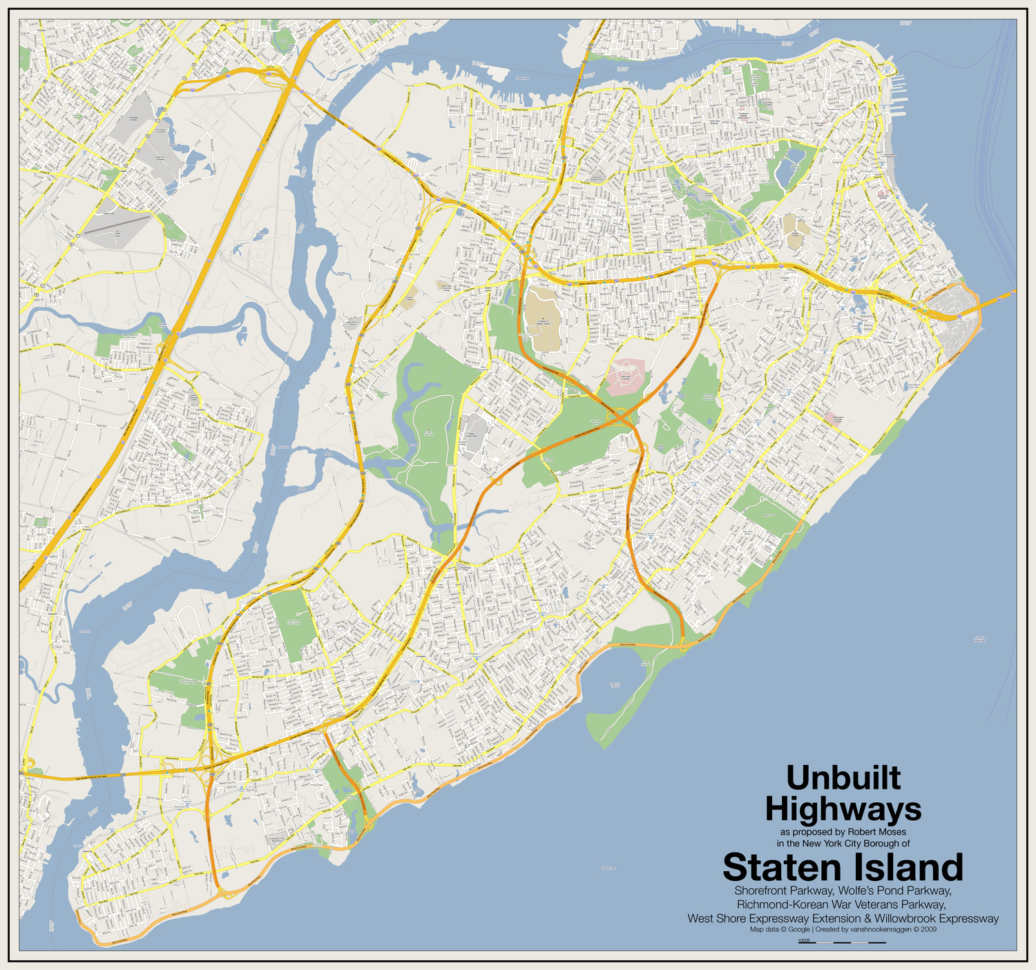 Unbuilt Highways of Staten Island | Unbuilt Highways as proposed by Robert Moses in the New York City Borough of Staten Island: Shorefront Parkway, Wolfe's Pond Parkway, Richmond-Korean War Veterans Parkway, West Shore Expressway Extension & Willowbrook Expressway  Map data © Google | Created by vanshnookenraggen © 2009