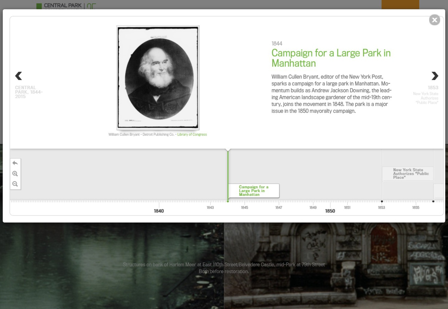 Central Park Conservancy's Interactive Timeline, 2015