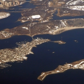 An aerial view of Hart Island (lower right), next to City Island