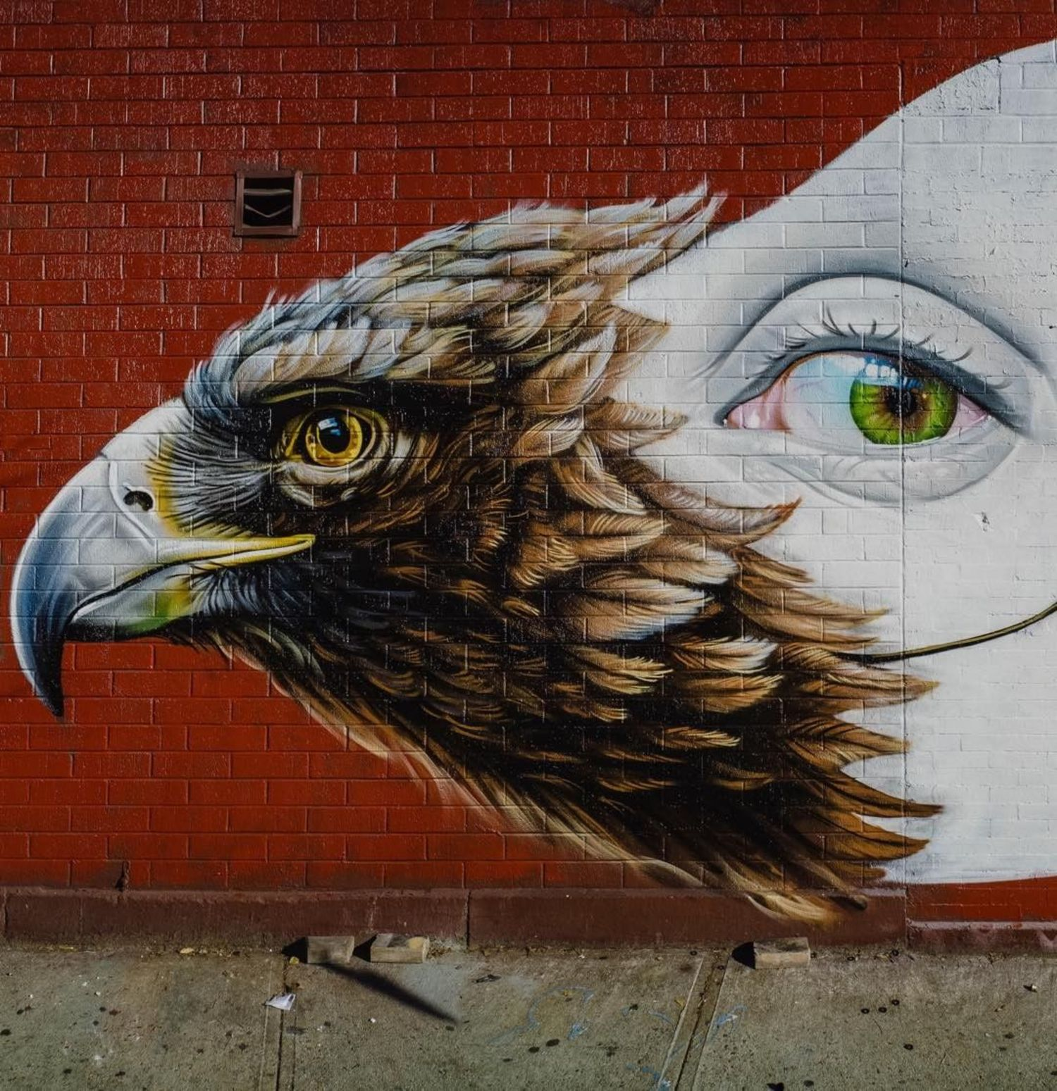 """Strange Bird "" closeup , in Manhattan New York #detail #freehand #sprayart #wallart #mural"