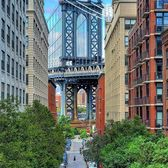 Looking down Washington Street towards Manhattan Bridge, DUMBO, Brooklyn