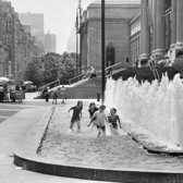 June 10, 1976: An unseasonably hot day in mid-June called for splashing in the fountains outside the Metropolitan Museum of Art.