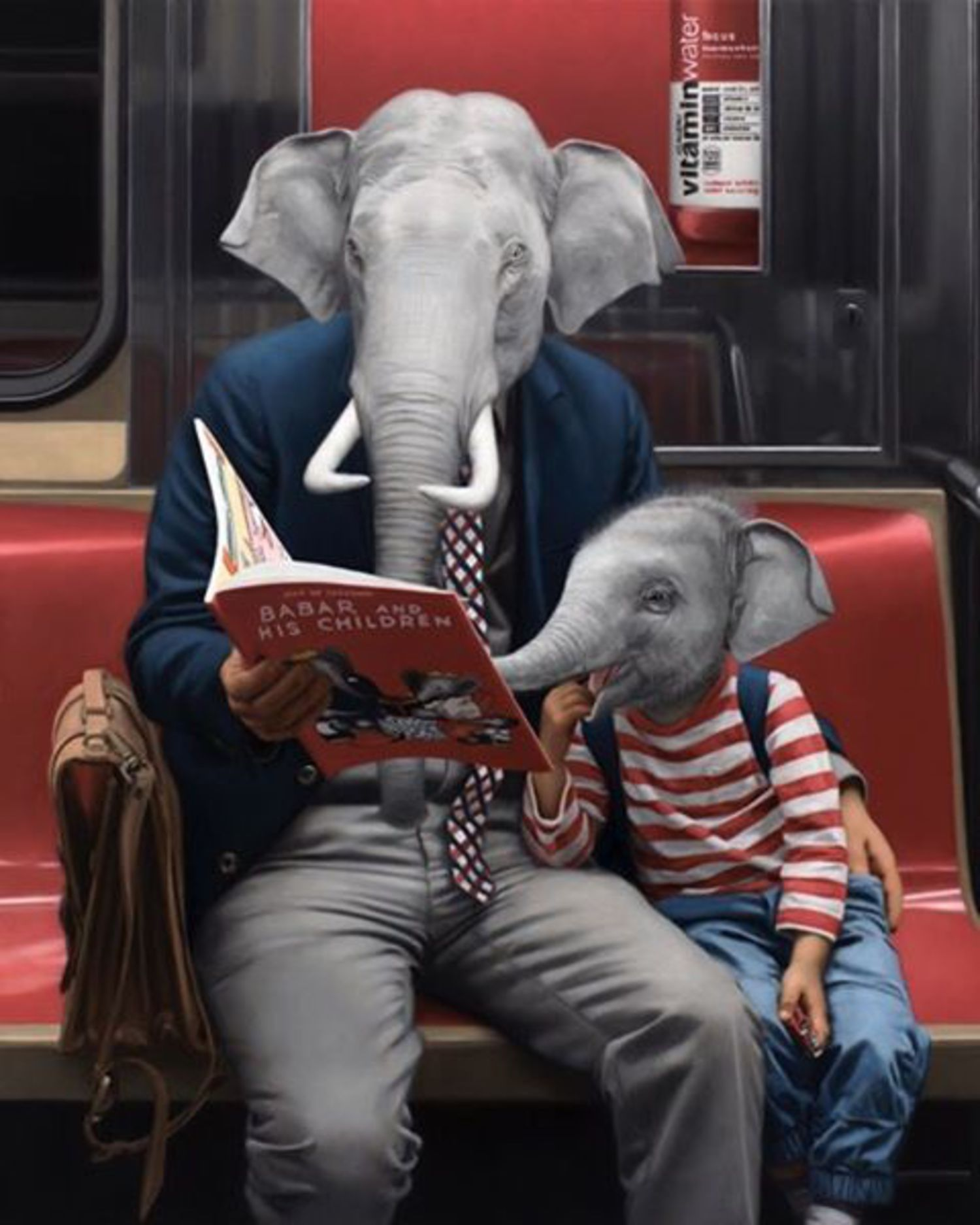 I've been watching a lot of videos of elephants on Facebook lately. They are kind of amazing. This new oil painting was inspired by memories of my parents reading Babar to me when I was a kid. Currently on view at UNDERGROUND through May 21st at Thinkspace Gallery (@thinkspace_art) in Los Angeles. The show can also be enjoyed via their website at www.thinkspacegallery.com.  #thinkspacegallery #thinkspacefamily #matthewgrabelsky #underground #subway #elephants #babar #oilpainting #painting