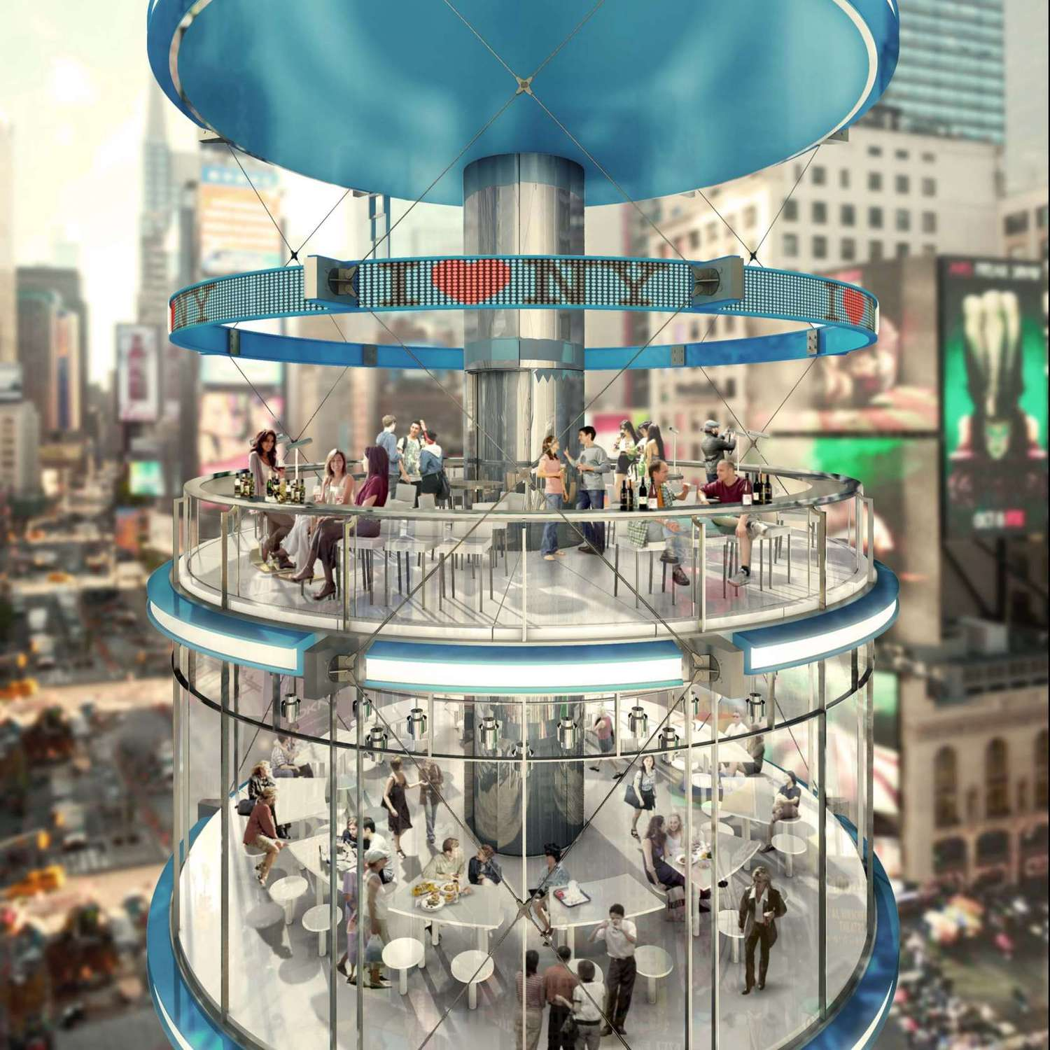 The open roof design allows air to circulate throughout, while the glass walls provide 360-degree views. Each pod is 40 feet in diameter and 180 feet tall.