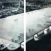 """Calling for a """"144-square-block airport rising 200 feet above street level on steel columns from 24th to 71st street,"""" William Zeckendorf's Rooftop Airport was """"not considered (completely) pie-in-the-sky when it was unveiled in 1945."""""""