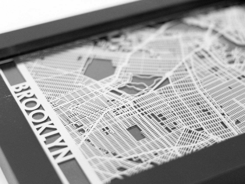 Brooklyn New York Stainless Steel Laser Cut Map - 5x7 Framed