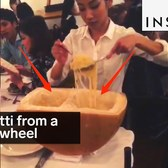 This pasta place serves spaghetti out of a cheese wheel