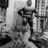 1940 Macy's Thanksgiving Day Parade. Superman's first float soaring through Times Square