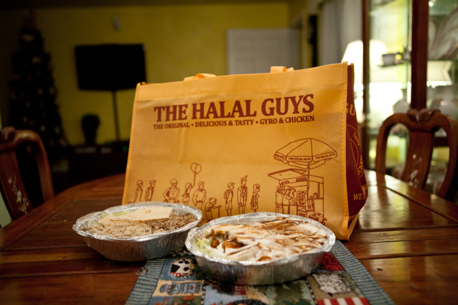 7/366 | WHAATTTT?!?!?!?! Halal guys have their own shopping bags?!?!?! hahahahha  If anyone ever visit New York City.. YOU HAVE TO STOP BY 53rd and 6th FOR SOME HALAL!! with white sauce =D