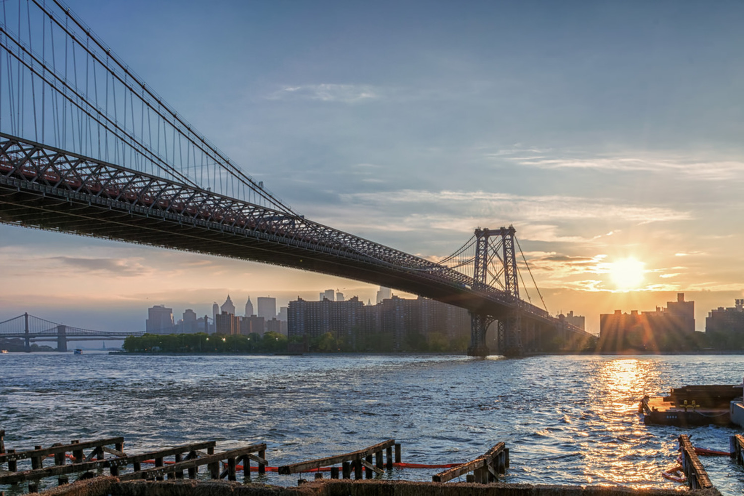 Lower Manhattan Bridges at Sunset