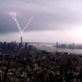 Lightning Striking the One World Trade Center NYC