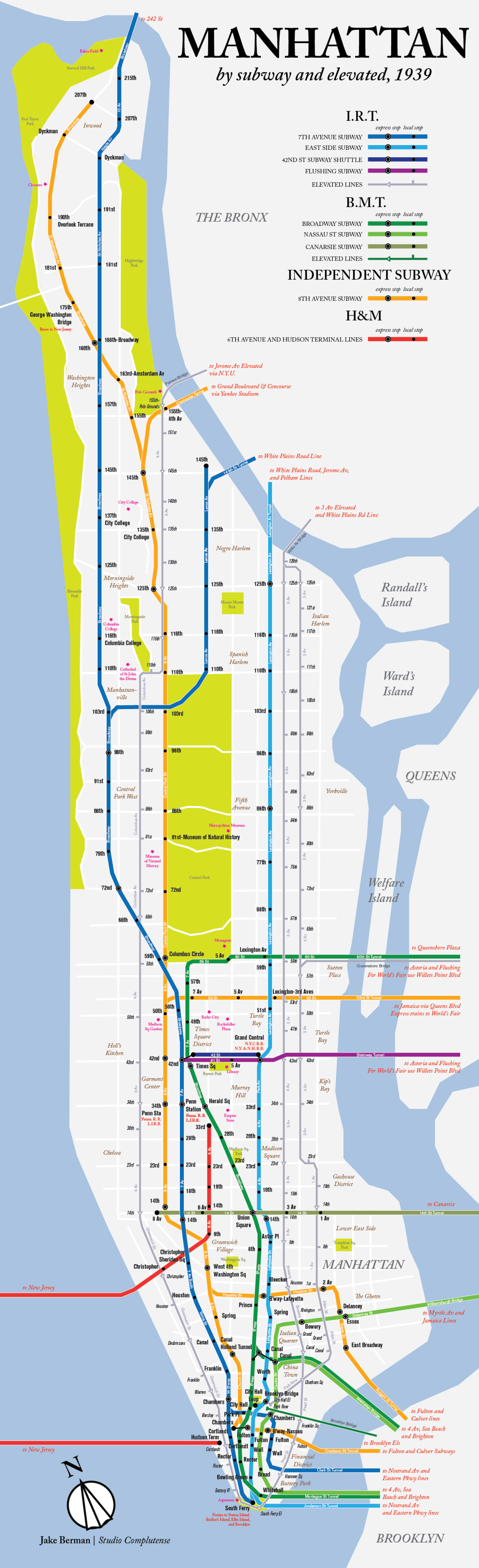 Nyc Subway Map 2000.Check Out This Modern Map Of Manhattan S 1939 Subway And Elevated