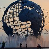 The uni globe, located in Flushing Meadows Park, in Queens was constructed in anticipation of the 1964 World Fair.