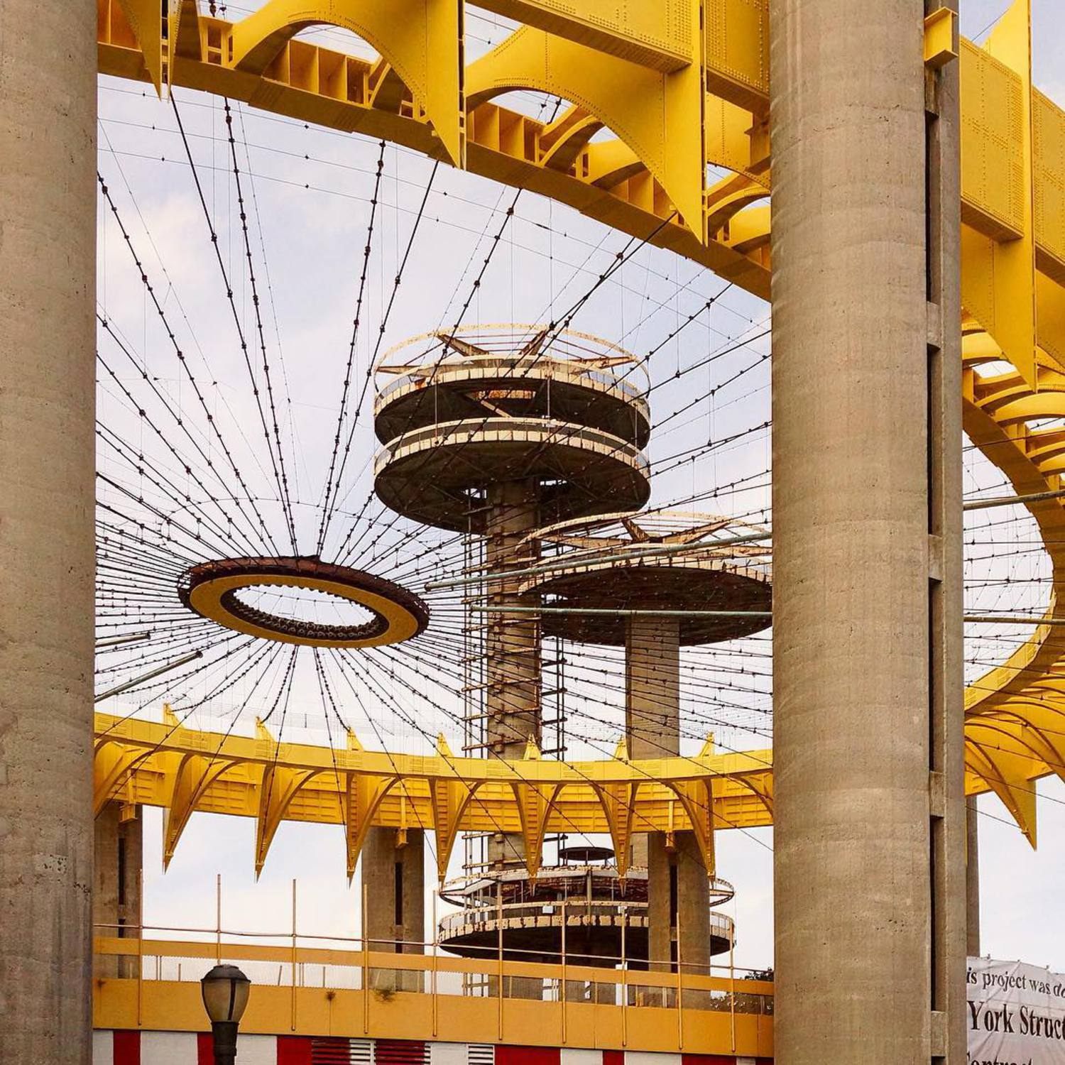 #newyorkstatepavilion #1964worldsfair #philipjohnson #levzetlin #tentoftomorrow #observationtowers #nationalregisterofhistoricplaces #spaceage #queensny #yellow #pfpavilion @pfpavilion #modernruins