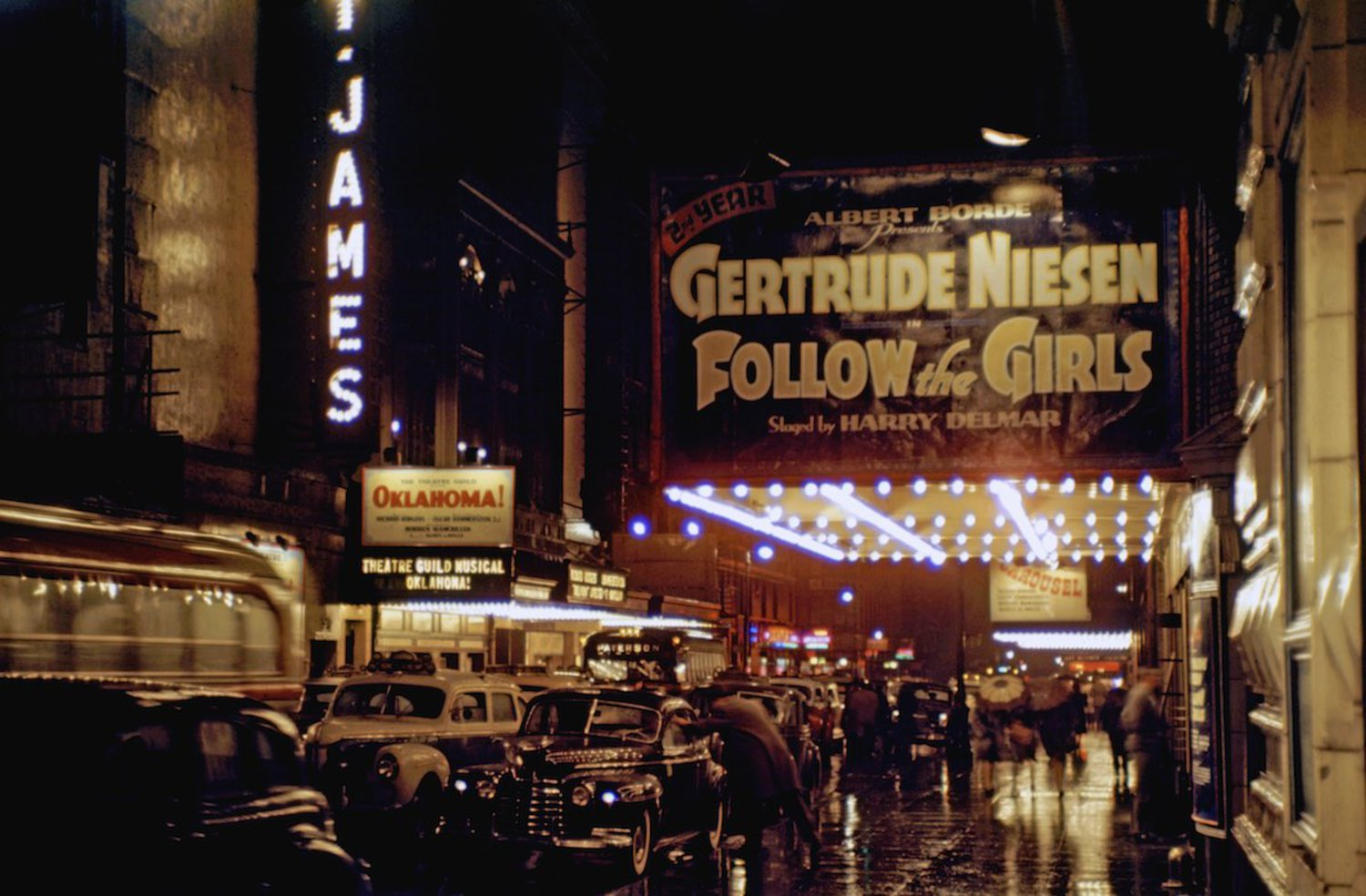 "1946 Theaters and night life on 44th street in Times Square also known as the ""Street of Hits""."