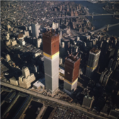 The World Trade Center beginning to rise over New York City in 1971