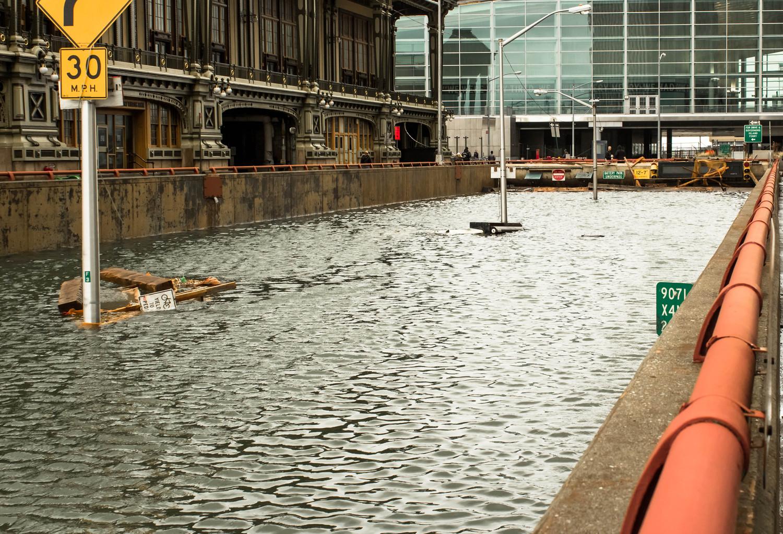 Lower Manhattan flooding during Hurricane Sandy