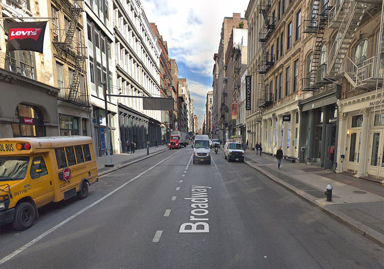 Broadway & Broome St., Google Maps (screenshot)