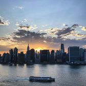 Sunset over Manhattan Skyline and East River
