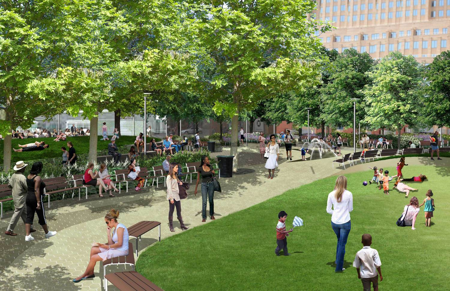 A rendering of Downtown Brooklyn's future green space, Willoughby Square.
