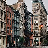 Looking down Broome Street towards Broadway, SoHo, Manhattan