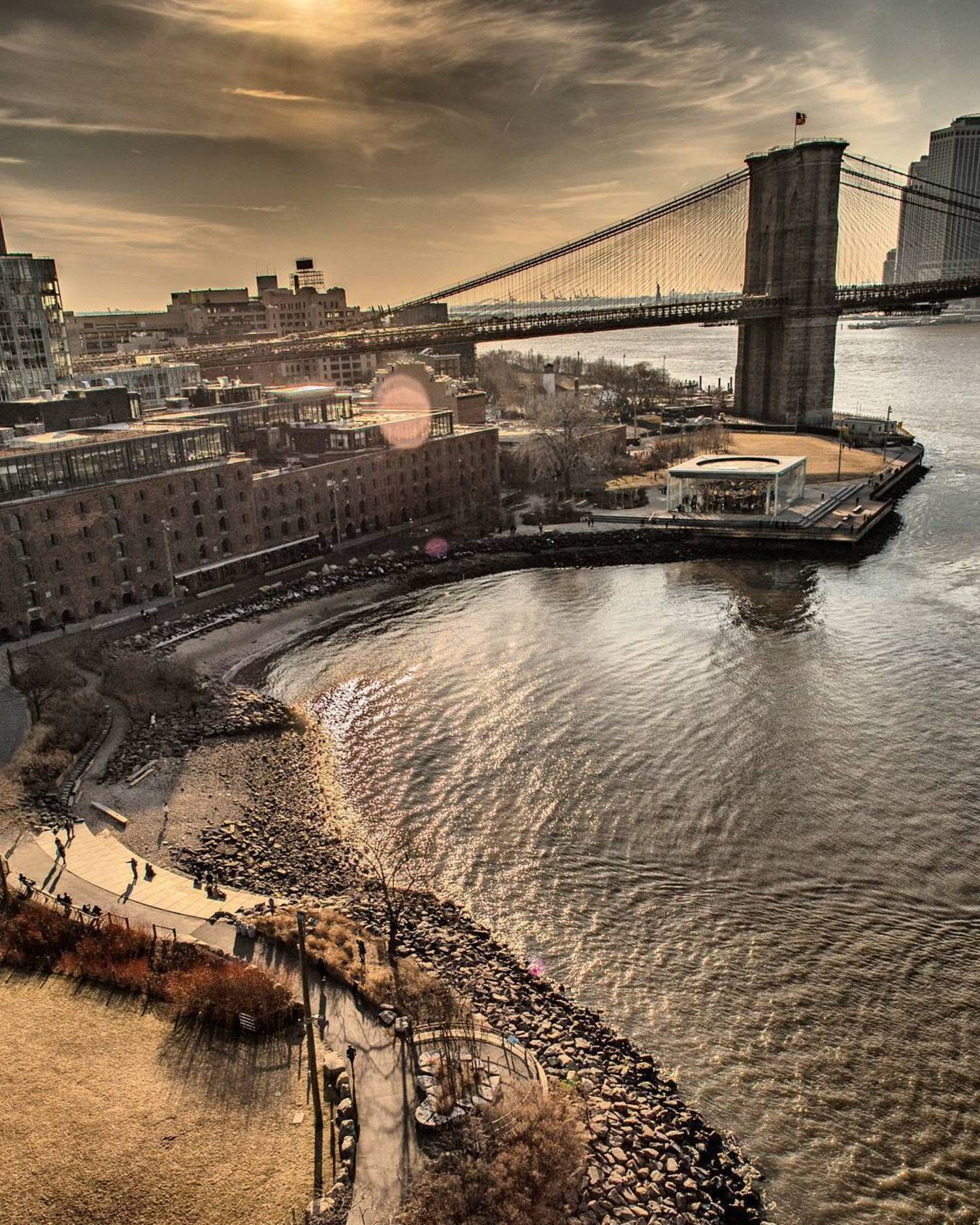 Looking over at Dumbo and Brooklyn Bridge from Manhattan Bridge!