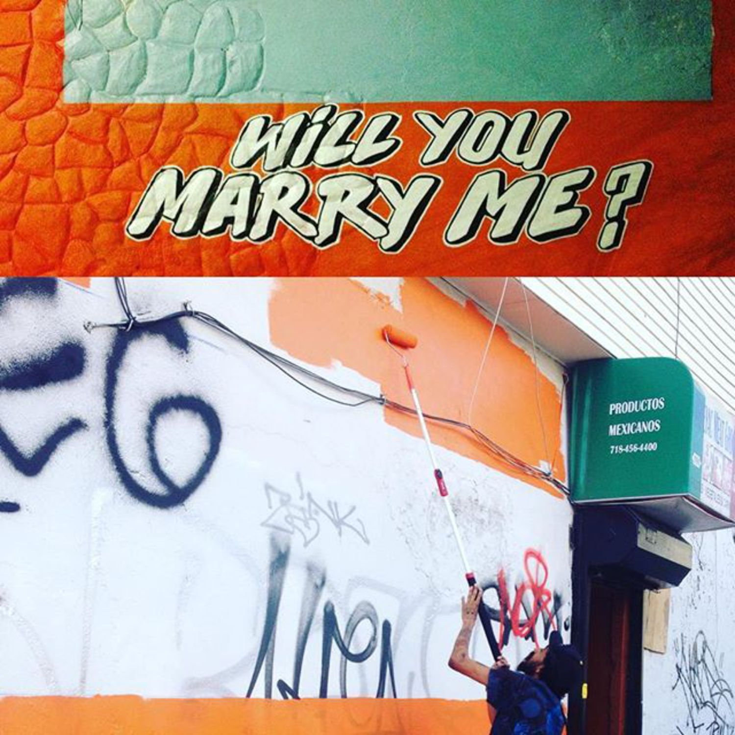 __________ Will you marry me?  in the works on knickerbocker and Jefferson st Brooklyn NY. I'll be here all day! Thanks for helping yesterday @benrobey helped