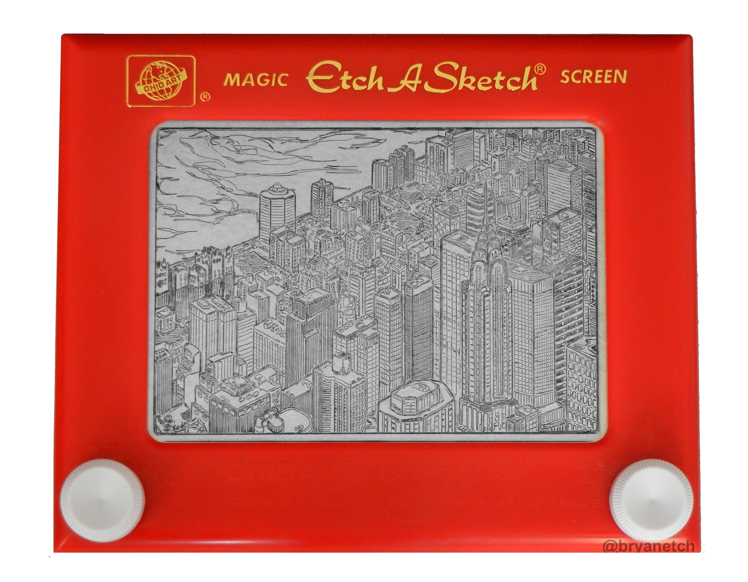 Chrysler Building From Above, Etch A Sketch, 5x7