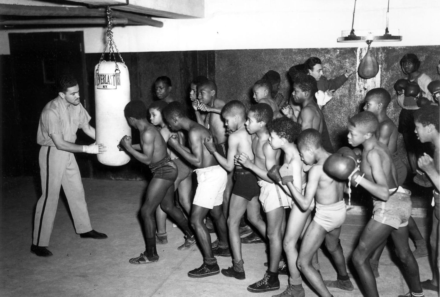 Amateur boxing class, Colonial Park Pool, New York, 1942.