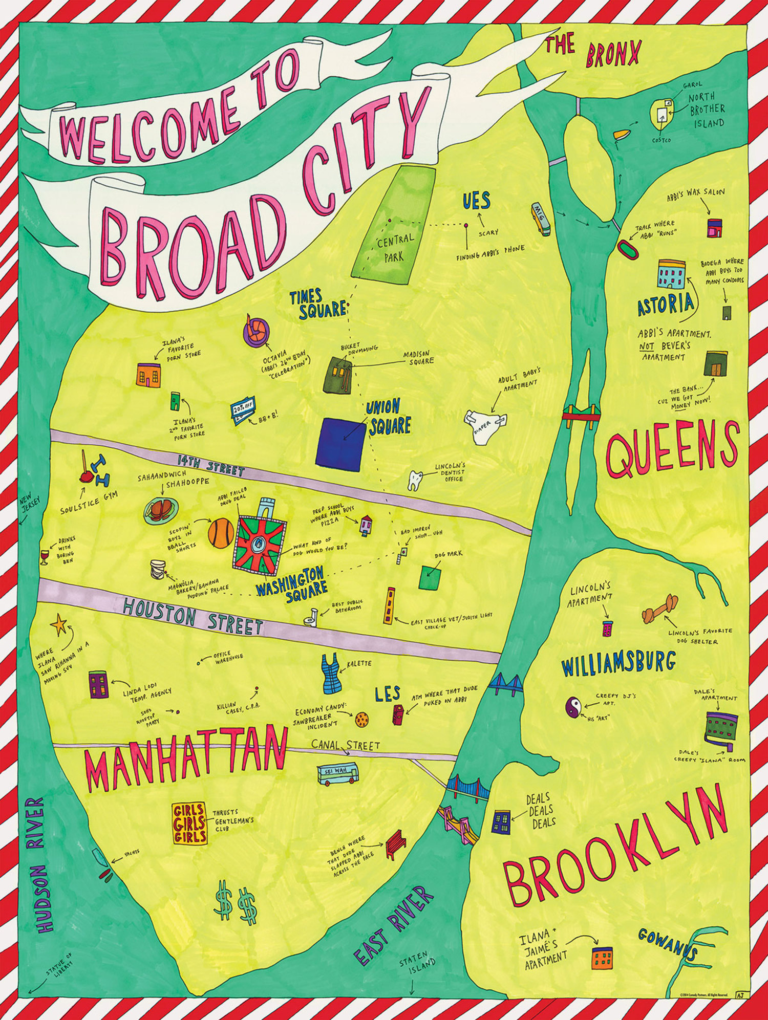 A Broad City Map of New York City, As Drawn By Abbi Jacobson ... on las vegas, map of honolulu, map of the northeast, empire state building, map of new york university, times square, map of las vegas, map of san diego, map of los angeles, statue of liberty, map of times square, map of brooklyn, map of manhattan, map of staten island, map of toronto, map of queens ny, map of cleveland ohio, map of 50 states, map of new york state, map of bronx, los angeles, map of world trade center, san francisco, central park, united states of america, new jersey, map of pennsylvania, map of washington dc, map of nevada,