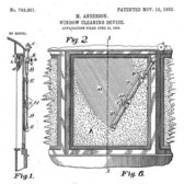 "Mary Anderson's illustration of her 1903 patented ""window cleaning device."" The United States Patent and Trademark Office"