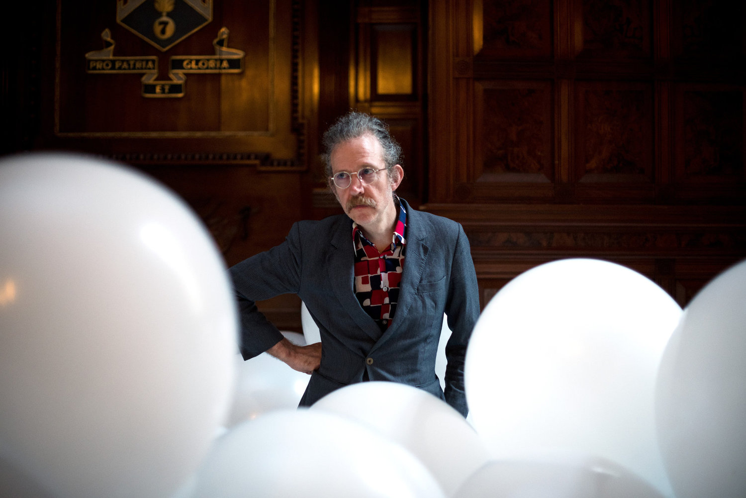 The artist Martin Creed at the Park Avenue Armory where his retrospective exhibition has been installed.