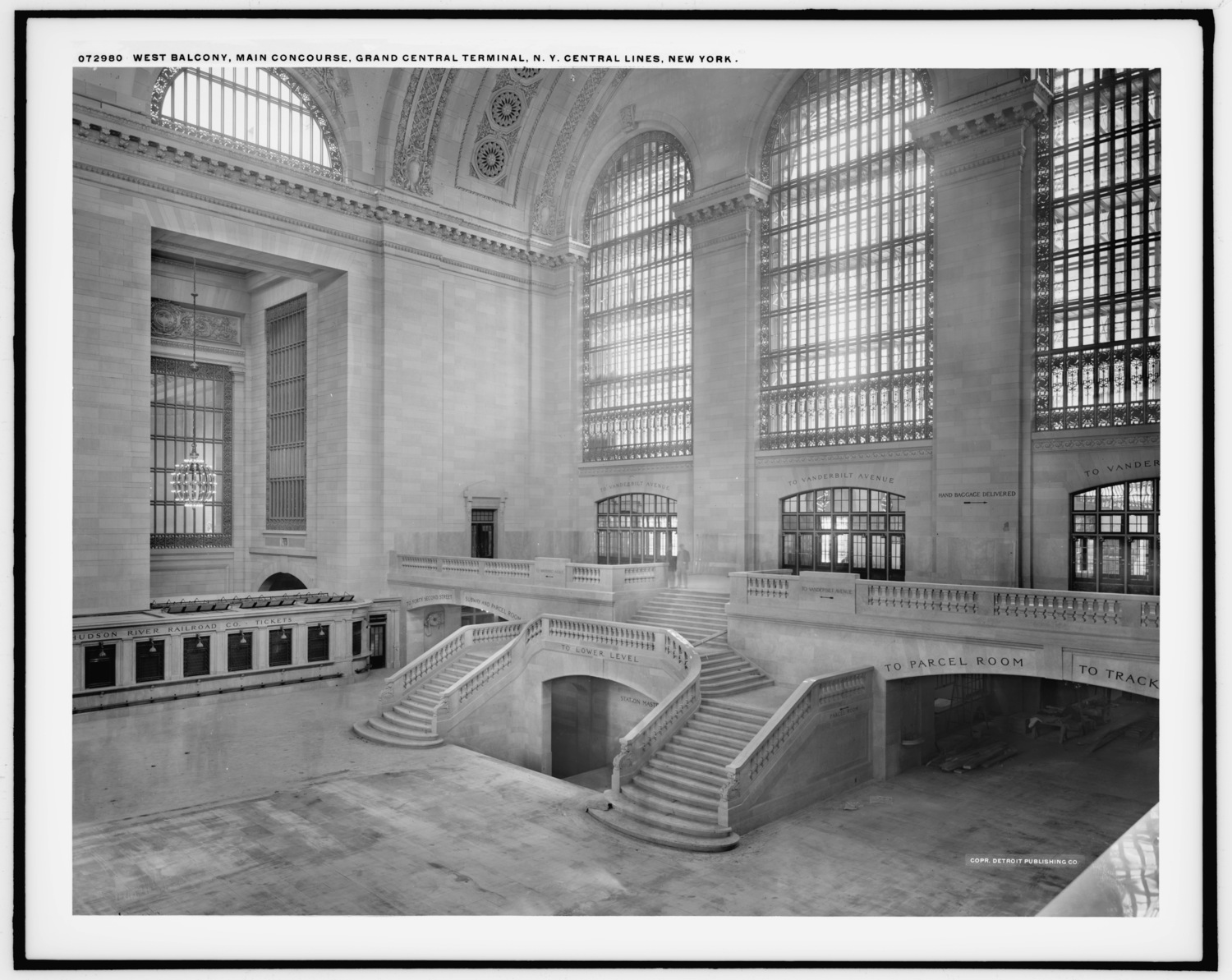 Vintage Photograph of the West Balcony in Grand Central Terminal's Main Concourse Circa 1915
