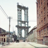 Manhattan bridge under construction in 1908, as seen from Washington St. and Water St. in Dumbo, Brooklyn.