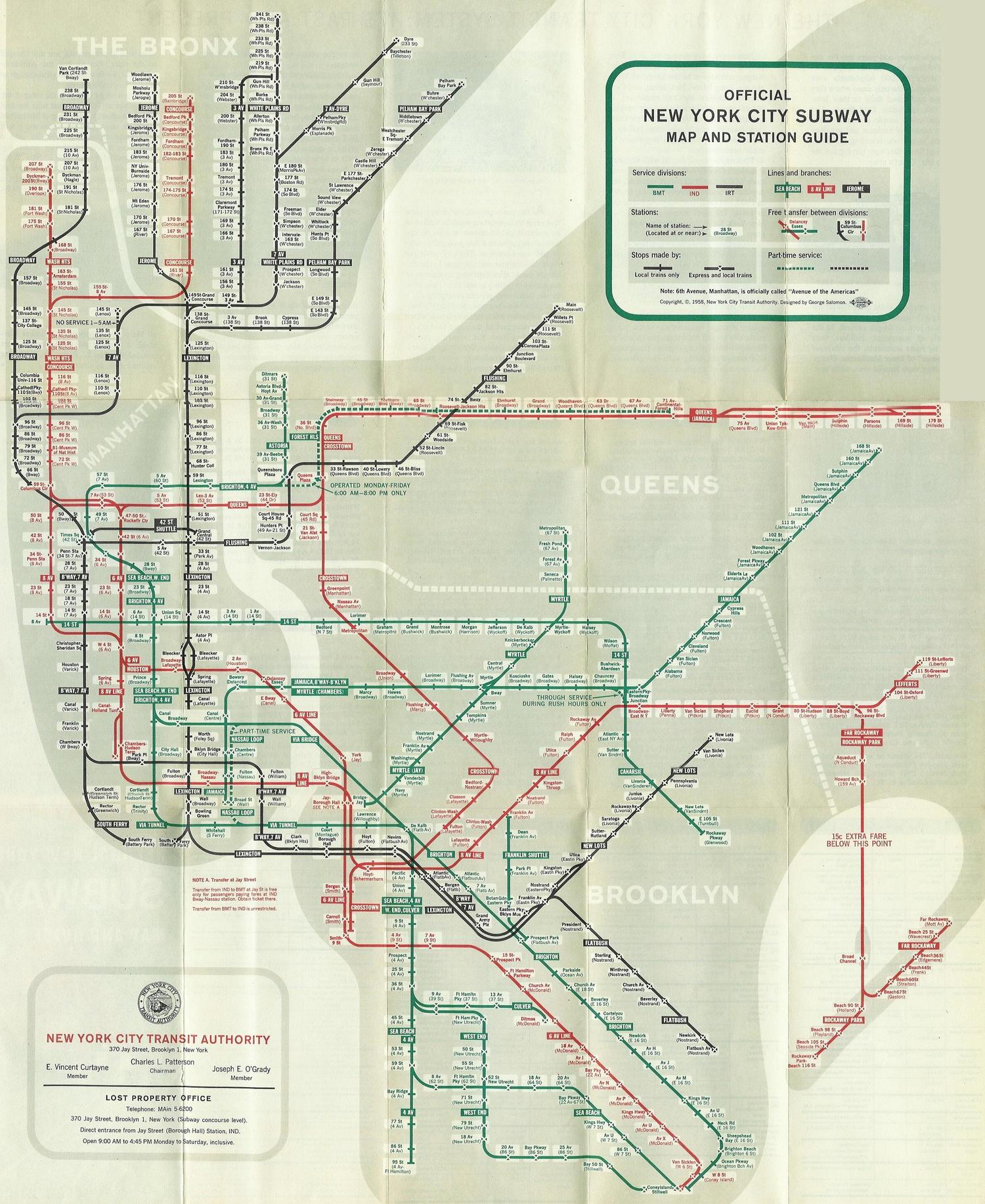 official new york city subway map and station guide 1958